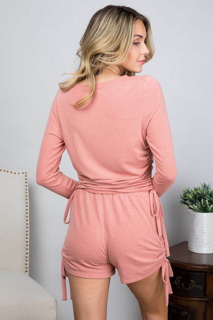 Ruched Knit Shorts in Dusty Pink