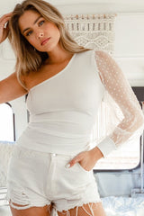 Everyday Dallas Glam One Shoulder Sheer Sleeve Top