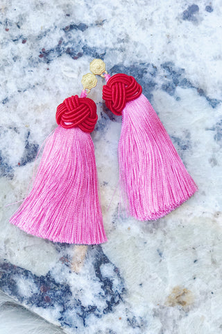 Hart Collection: Tasseled Earrings, Pink
