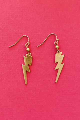 Storm Chaser Lightning Bolt Earrings, Gold