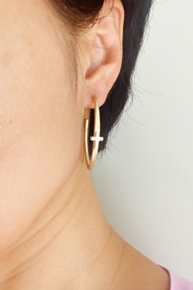 Singular Cross Hoop Earrings