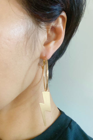 Lightening From Above Earrings, Gold