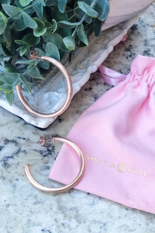 Sheila Fajl, Smaller Everybody's Favorite Hoops in Rose Gold