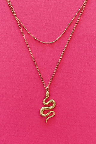 Serpent Stays Necklace, Gold