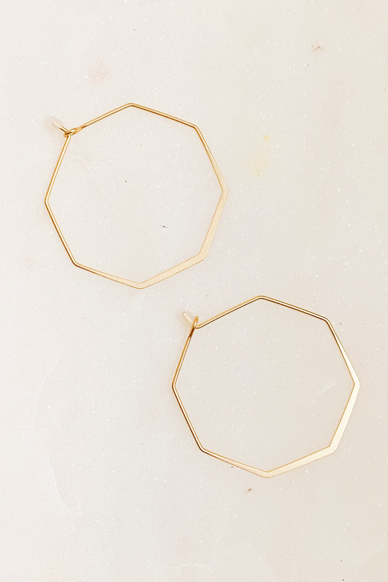 Mini Stylish Octagon Wire Hoops, Matte Gold
