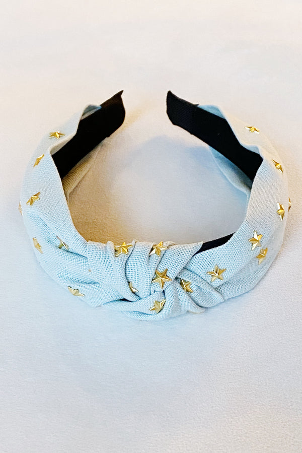 Gold Stars Knotted Headband, Light Blue
