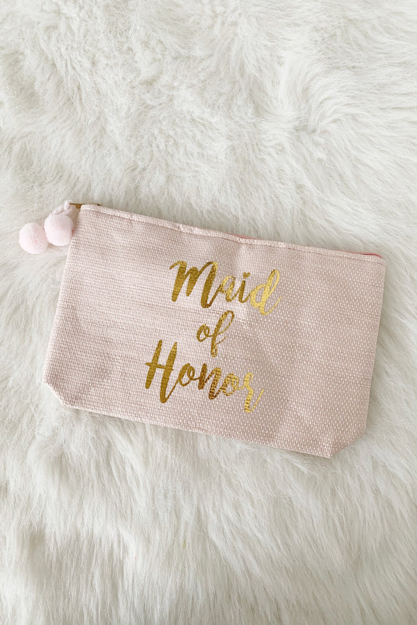 Maid Of Honor Zip Pouch, Blush