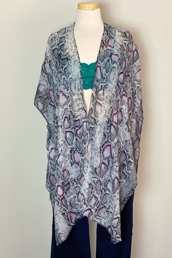 Snake Of Many Colors Kimono in Grey