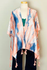 The front of the Bright Skies Tie Dye Kimono in Pink shown on a mannequin