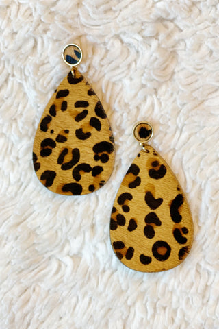 Party Animal Earrings, Light Brown