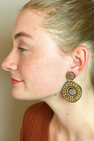 Double Circle Earrings, Gold