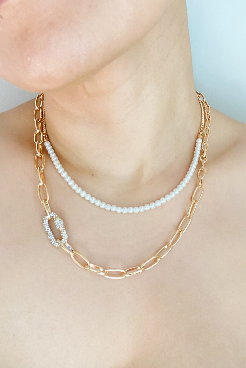 Classic Duo Layered Pearl Necklace Set