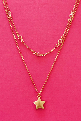 Single Star Necklace, Gold