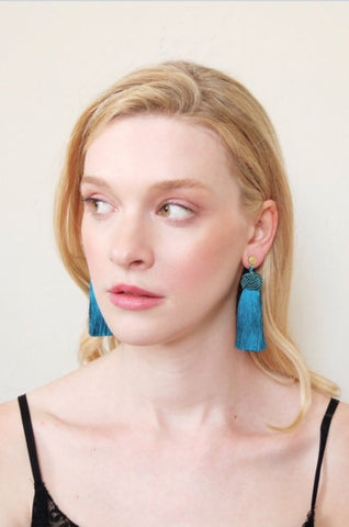Hart Collection: Tasseled Earrings, Teal