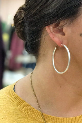 The Best of Hoops Earrings, Matte Silver