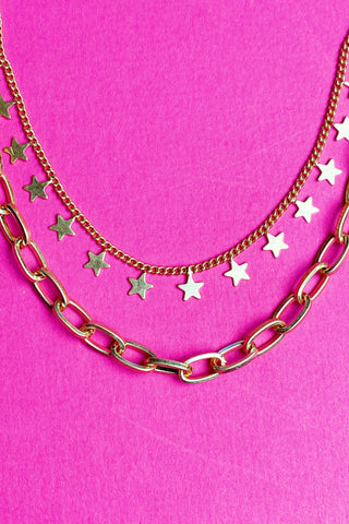 Double The Stars Necklace, Gold