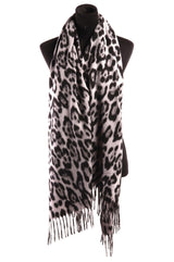 Spotted Leopard Print Scarf, Black