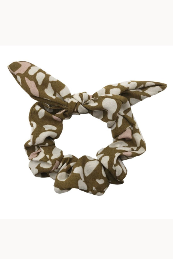 Olive leopard print bow scrunchie displayed on white background