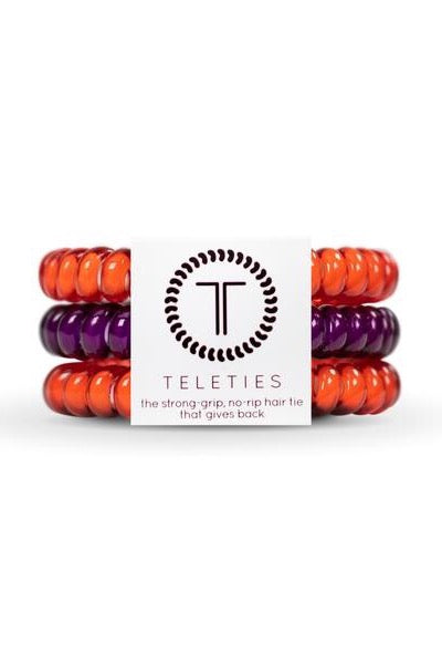 Teleties Small 3-Pack Hair Tie, Collegiate