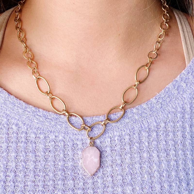 Heart Of Natural Stone Necklace, Rose Pink