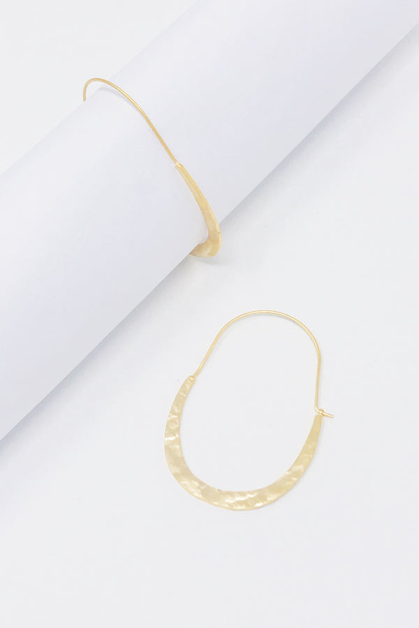 Crescent Hammered Hoop Earrings
