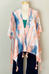 Bright Skies Tie Dye Kimono in Pink On a mannequin