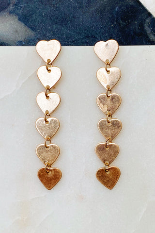 String Of Hearts Earrings, Gold