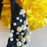 Pearl Vibes Knotted Headband, Black