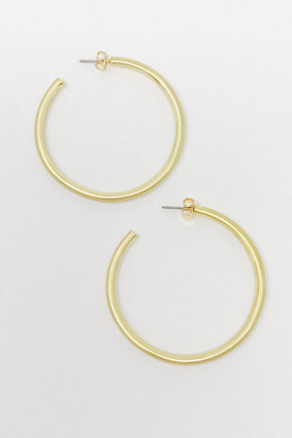 Smaller Jade Satin Hoops, Gold