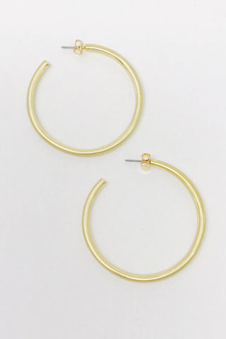 Smaller Jade Satin Gold Hoops