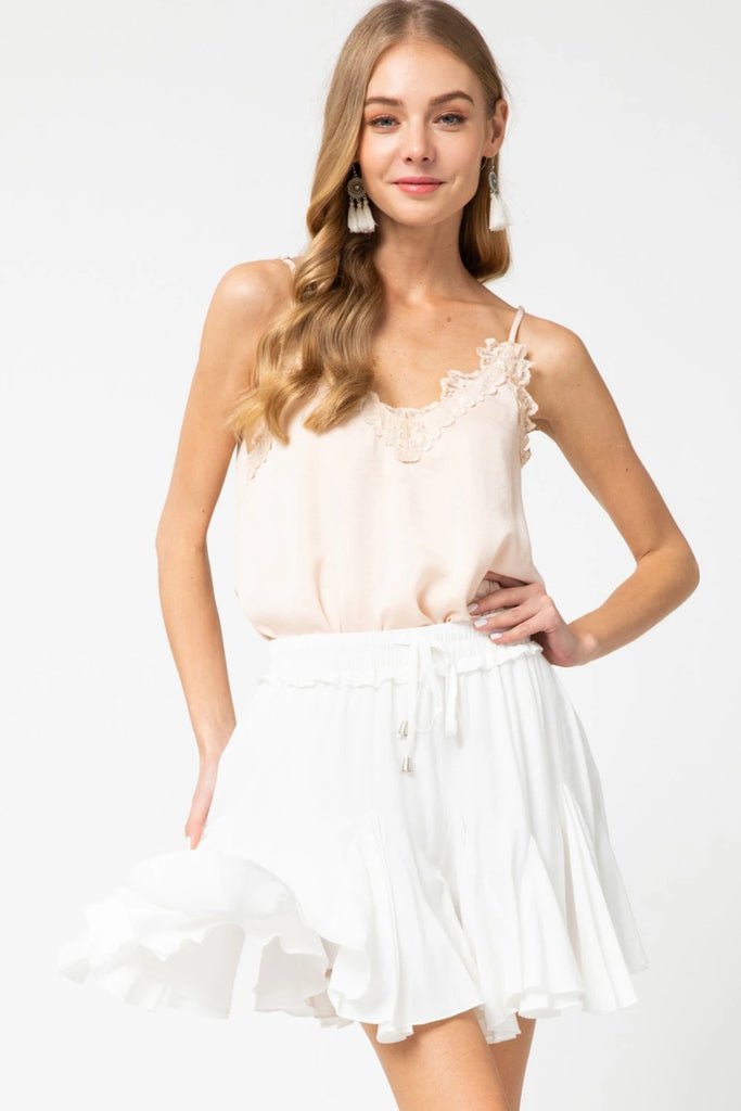 Morgan Ruffle Skirt in Off White