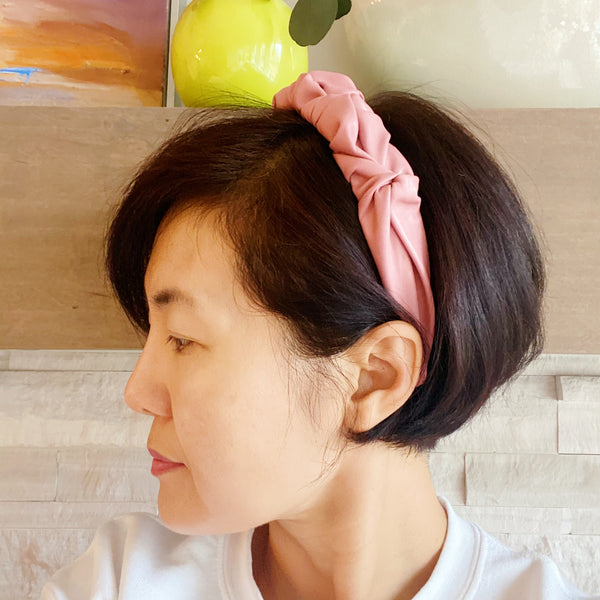 Scrunched Vegan Leather Headband, Pink