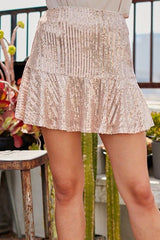 Dazzle Me Ruffled Sequin Skirt