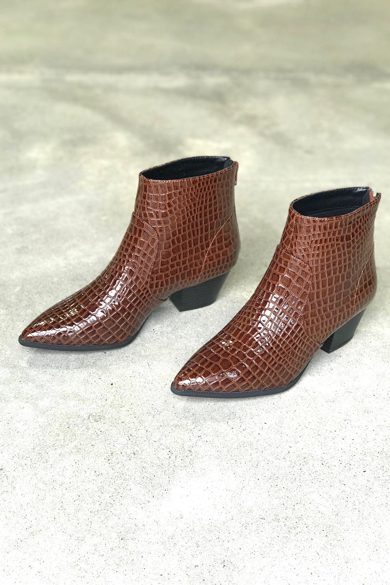 Everglades Faux Croc Booties