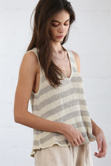 Summertime Lounge Striped Sleeveless Top