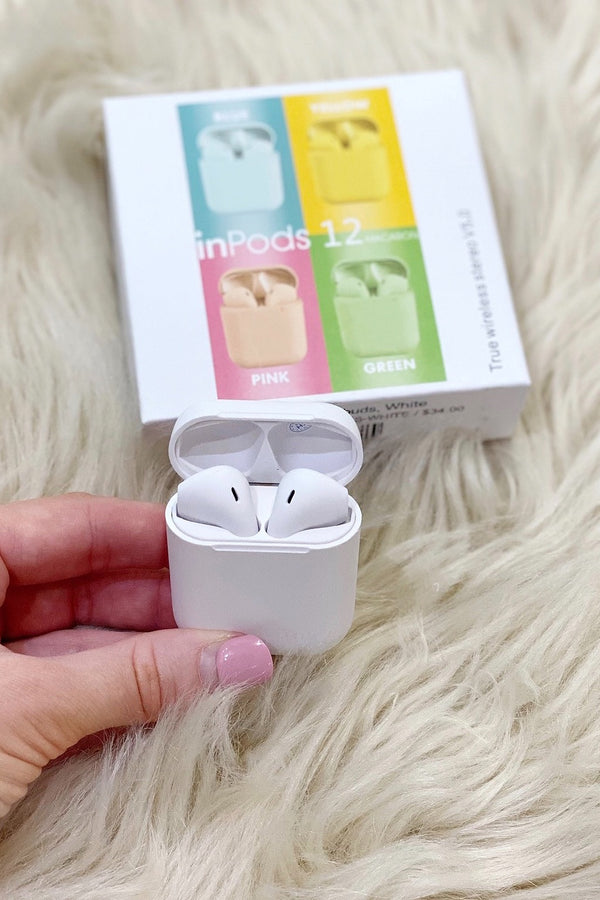 Bluetooth Earbuds in white shown in the white case.