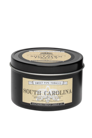 Southern Firefly Classic 6 oz. Tin Candle, South Carolina Sweet Tobacco