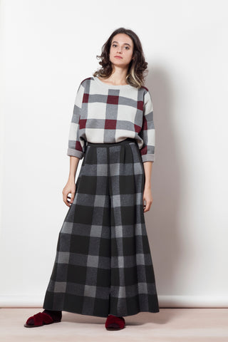 Plaid palazzo trousers