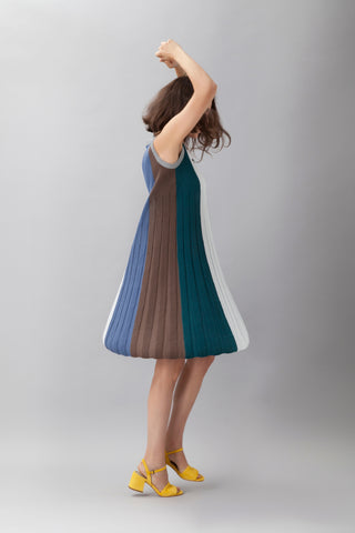 Rainbow mini pleated dress