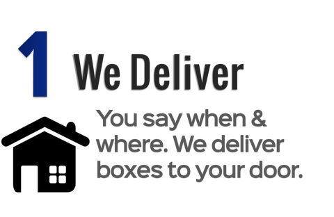 Step 1: We deliver boxes to your door. Free local delivery and pickup. You say when and where.