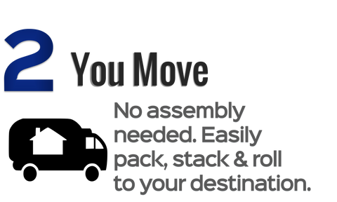 Step 2: You Move. Easily pack, stack and roll to your destination.