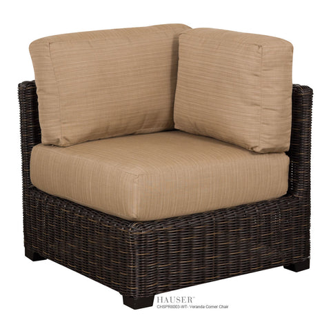 Veranda Sectional Corner Chair, Roasted Pecan