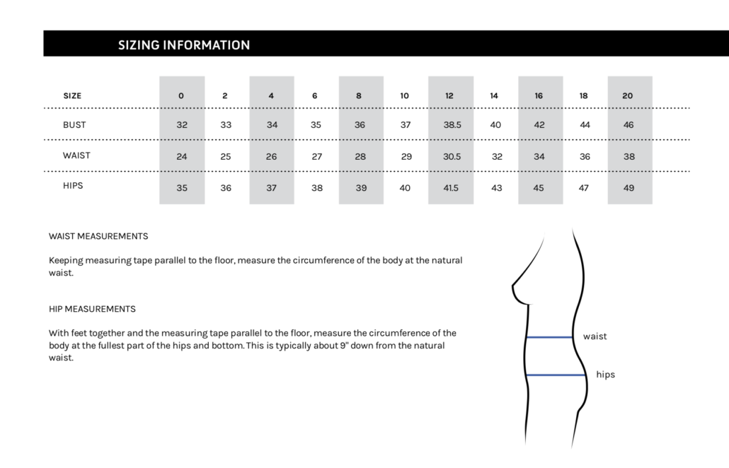 garment sizing table for orange lingerie