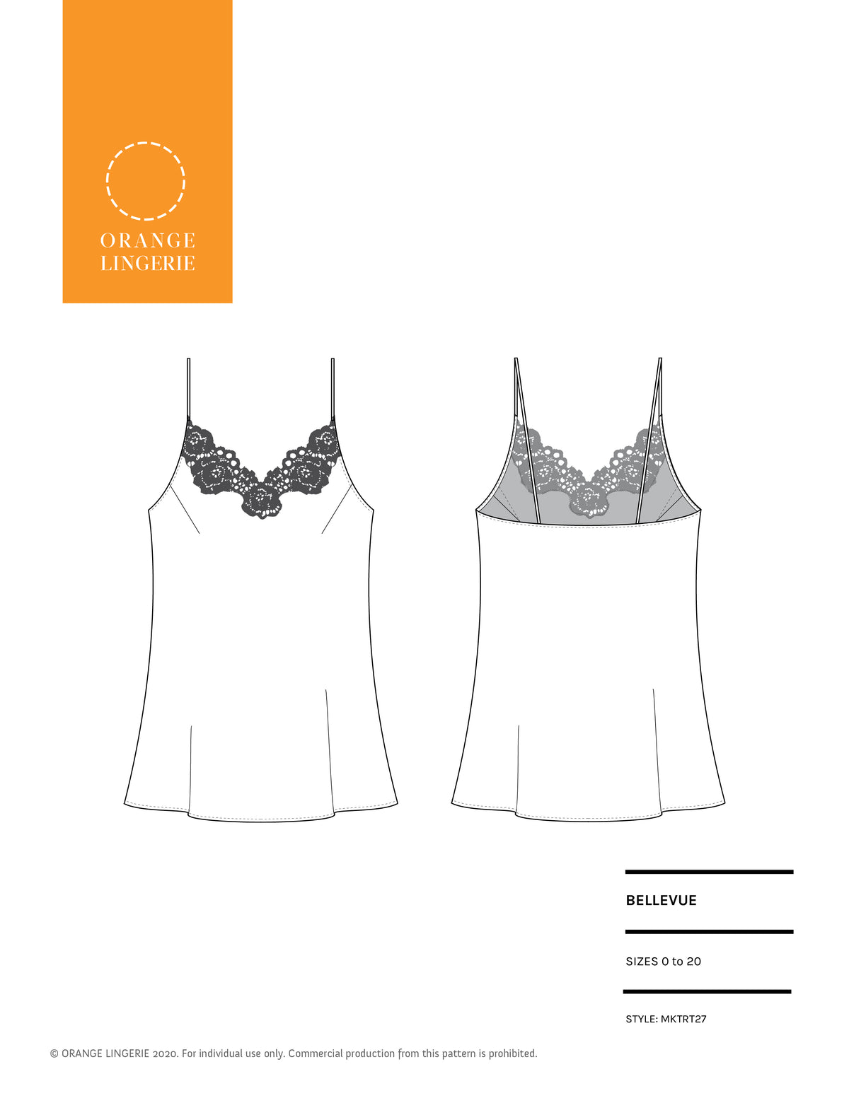 Orange Lingerie Bellevue Camisole Sewing Pattern Cover