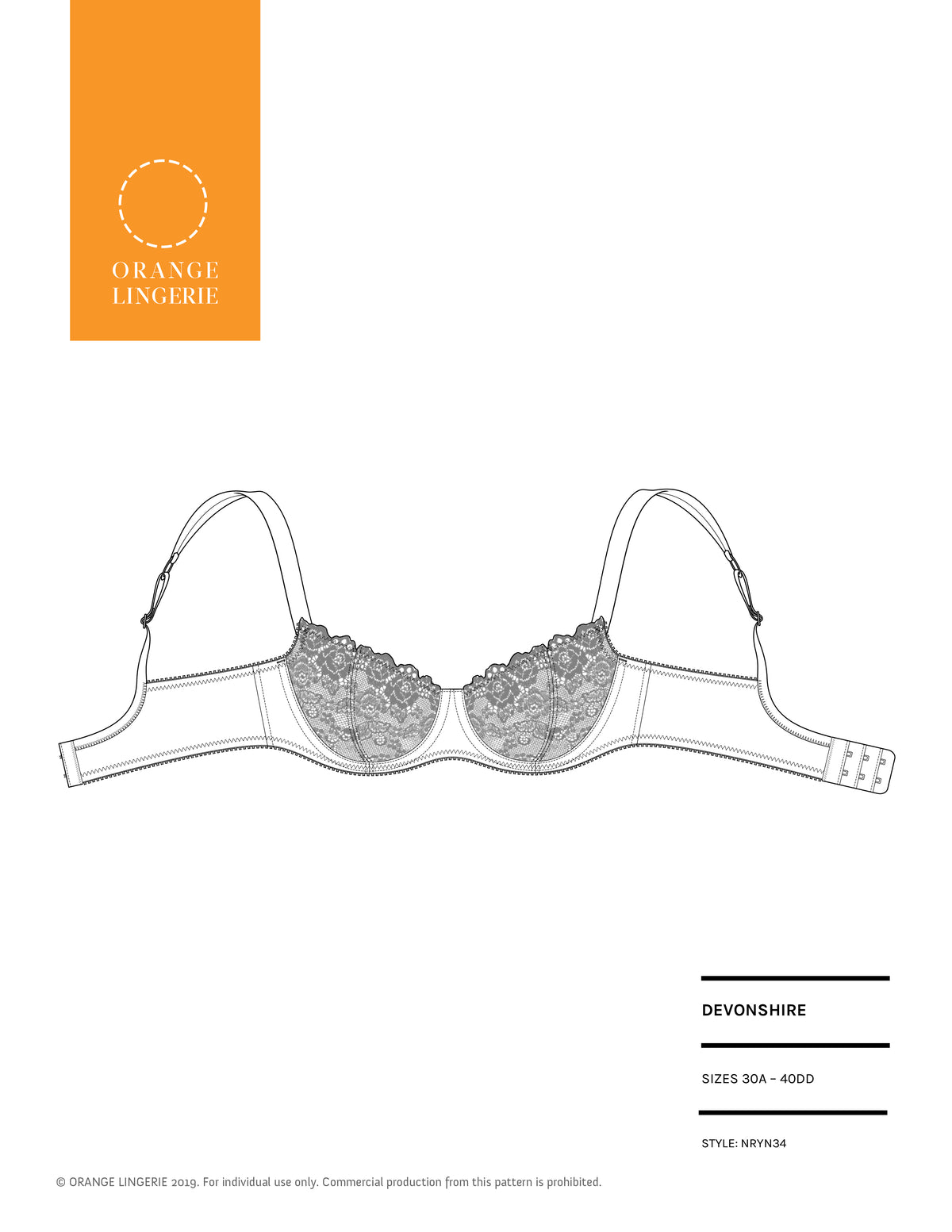 Orange Lingerie Devonshire A to DD  Bra Sewing Pattern Cover