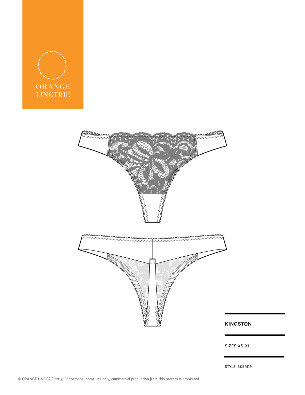 Orange Lingerie Kingston Thong Sewing Pattern Cover
