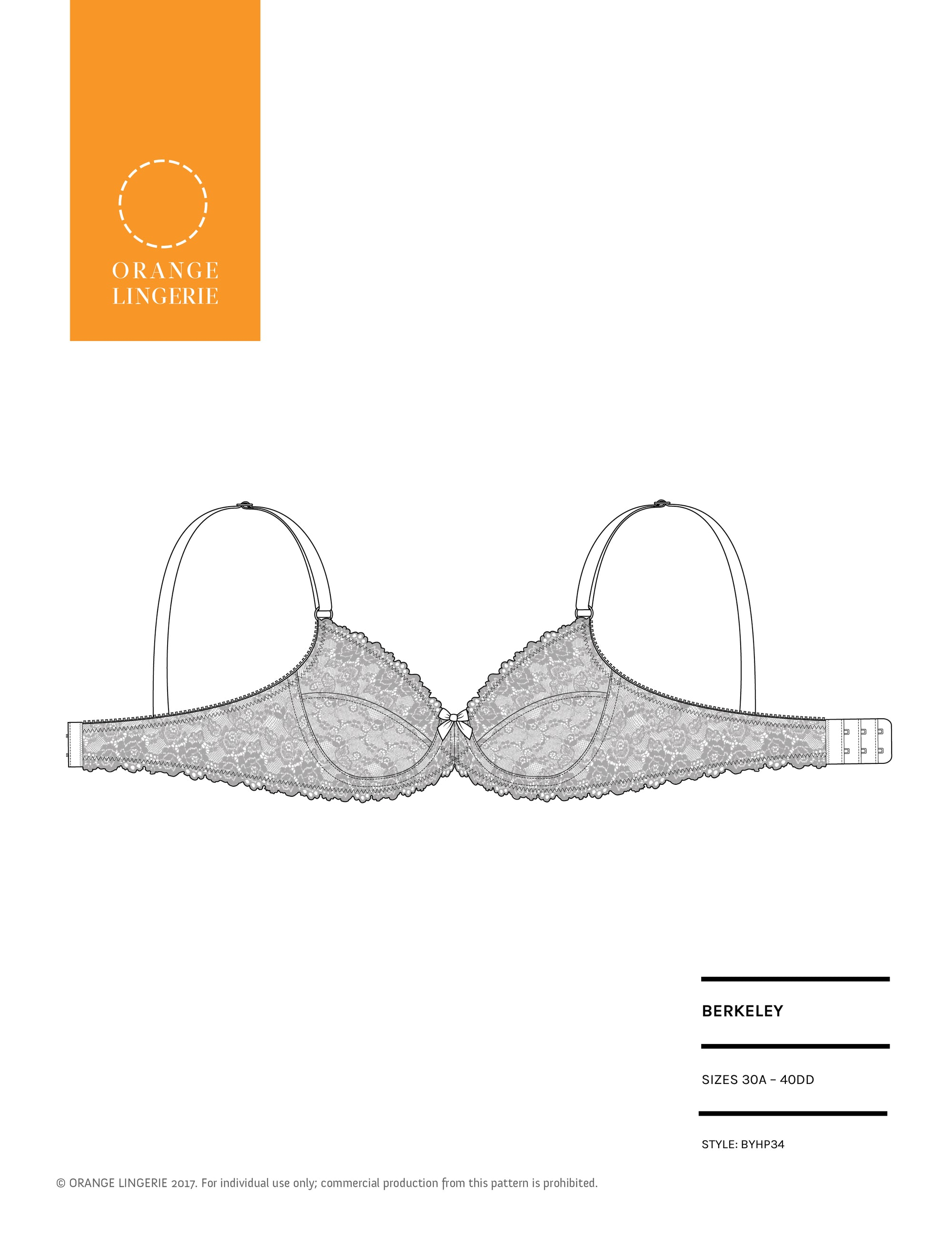 Orange Lingerie Berkeley Bra Sewing Pattern Cover