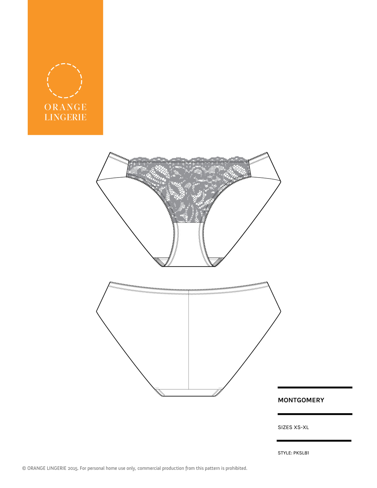 Orange Lingerie Montgomery Briefs Sewing Pattern Cover