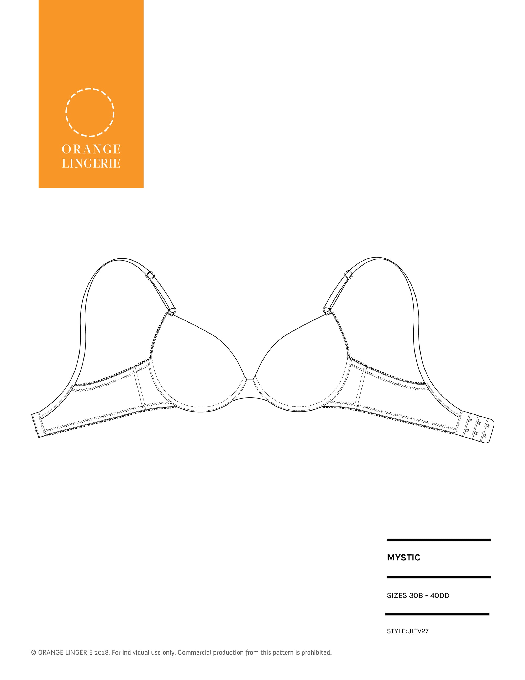 Orange Lingerie Mystic Bra Sewing Pattern Cover