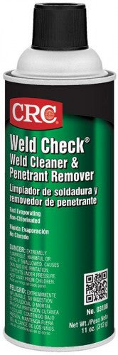 CRC INDUSTRIES WELD CHECK® WELD CLEANER & PENETRANT REMOVER, 11 WT OZ